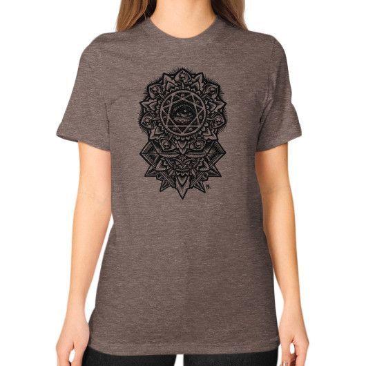 Eye of God Flower Unisex T-Shirt (on woman)