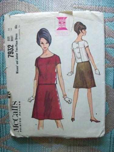 **BACK BUTTON*: Vintage-60s-McCalls-Pattern-7932-Misses-Mod-Skirt-Back-Button-Blouse-14