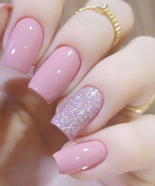 lovely pink glitter wedding nail