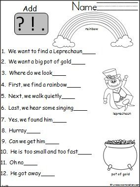 Worksheets Kindergarten Punctuation Worksheets proper punctuation homework for kids and classroom students practice writing end marks with this st patricks day worksheet