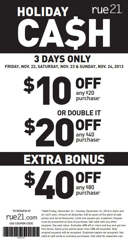 photo relating to Rue 21 Printable Coupons named Rue 21: $10-$40 off Printable Coupon Outfit Designs