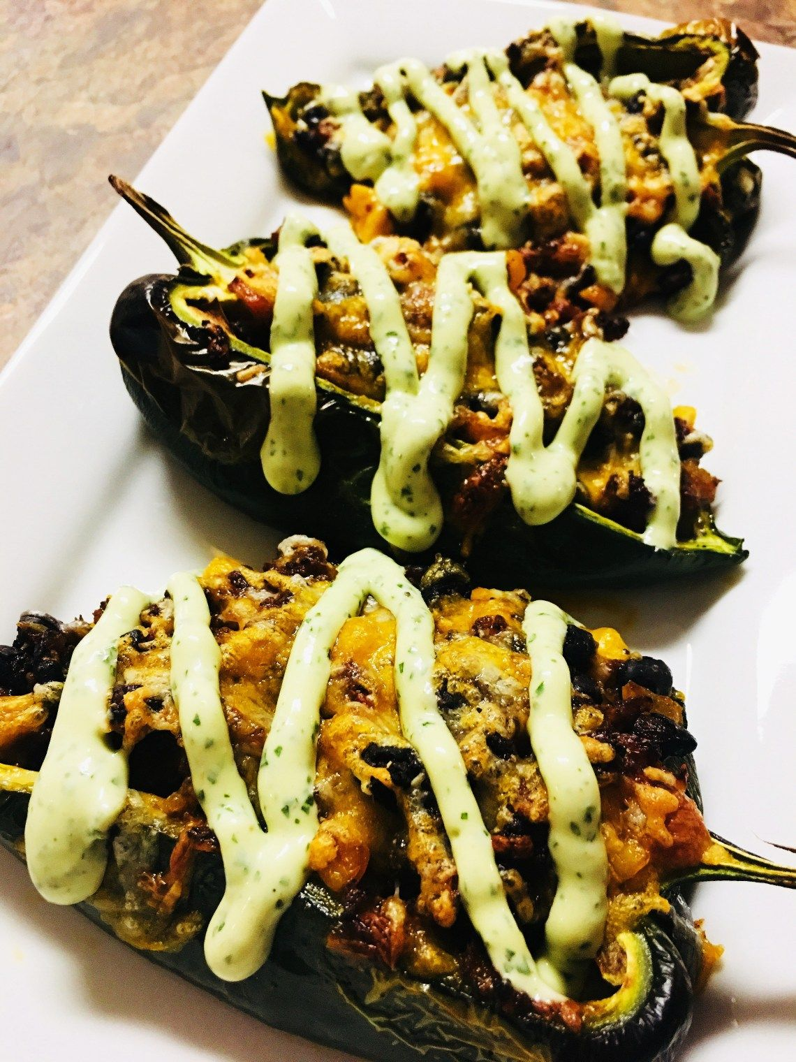 Chorizo Stuffed Poblanos With Avocado Cream Cooks Well With Others Stuffed Poblanos Superbowl Snacks Cooking