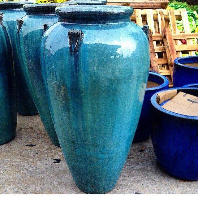 Giant Pot In Blue Hoangpottery Hoangpotter Outdoorplanter Outdoorpot Plantersmanufacturer Potsman Large Ceramic Planters Outdoor Vases Ceramic Flower Pots