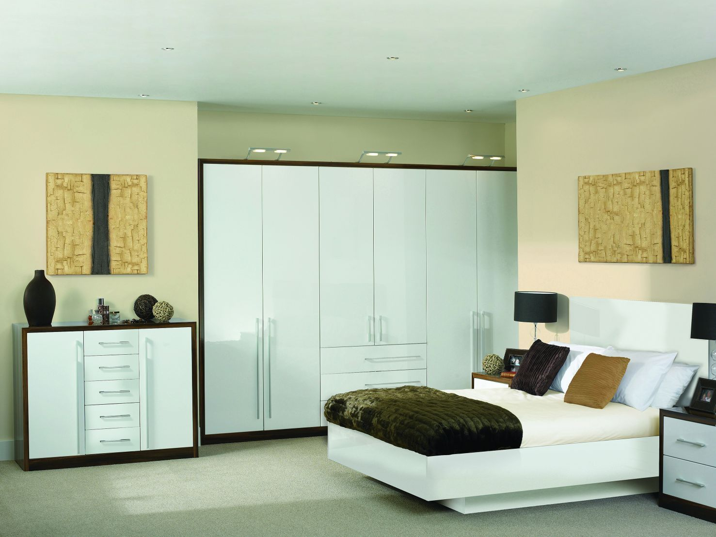 Venice High Gloss White Fitted bedrooms, Fitted bedroom