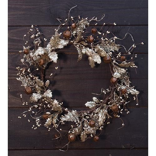 Vintage style Holly with Bells Christmas Wreath 20\