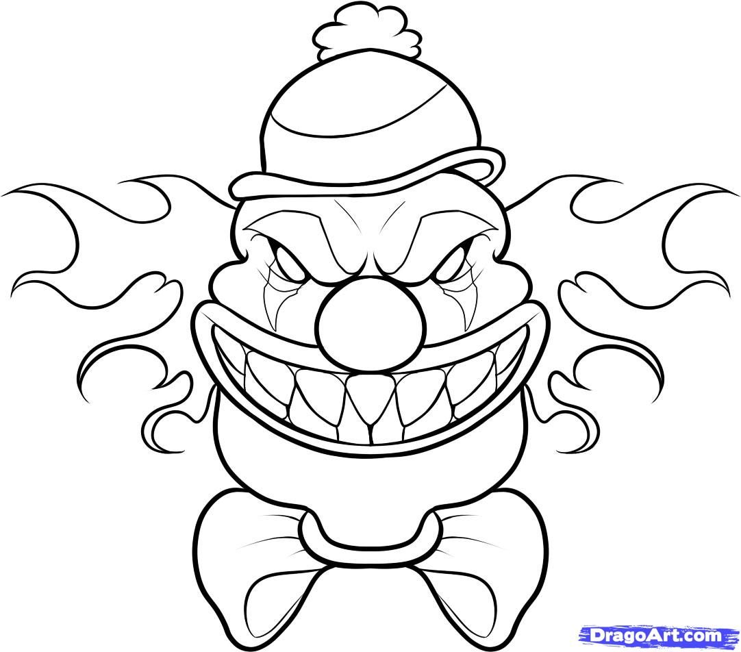 How To Draw A Scary Clown Step By Step Creatures Monsters Free Halloween Drawings Scary Clown Drawing Cool Cartoon Drawings