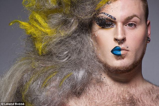 Bearded lady: While some of the drag queens shaved their beards and chests for the shoot, Azraea decided to go au naturel