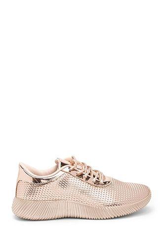 Qupid Textured Metallic Sneakers   Rose
