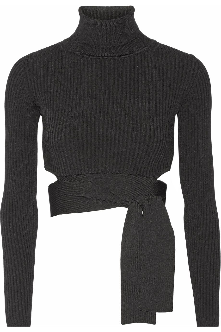 Cushnie et Ochs Cropped ribbed stretch-knit top