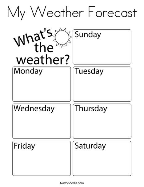 My Weather Forecast Coloring Page