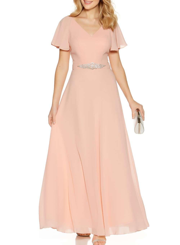 Quiz peach chiffon vneck maxi dress wedding pinterest maxi