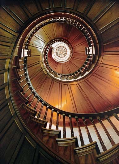 This Beautiful Spiral Mahogany Staircase Was Located In The Rose