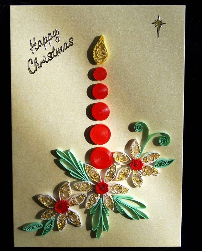 Free christmas quilling patterns christmas candle for Quilling patterns for beginners
