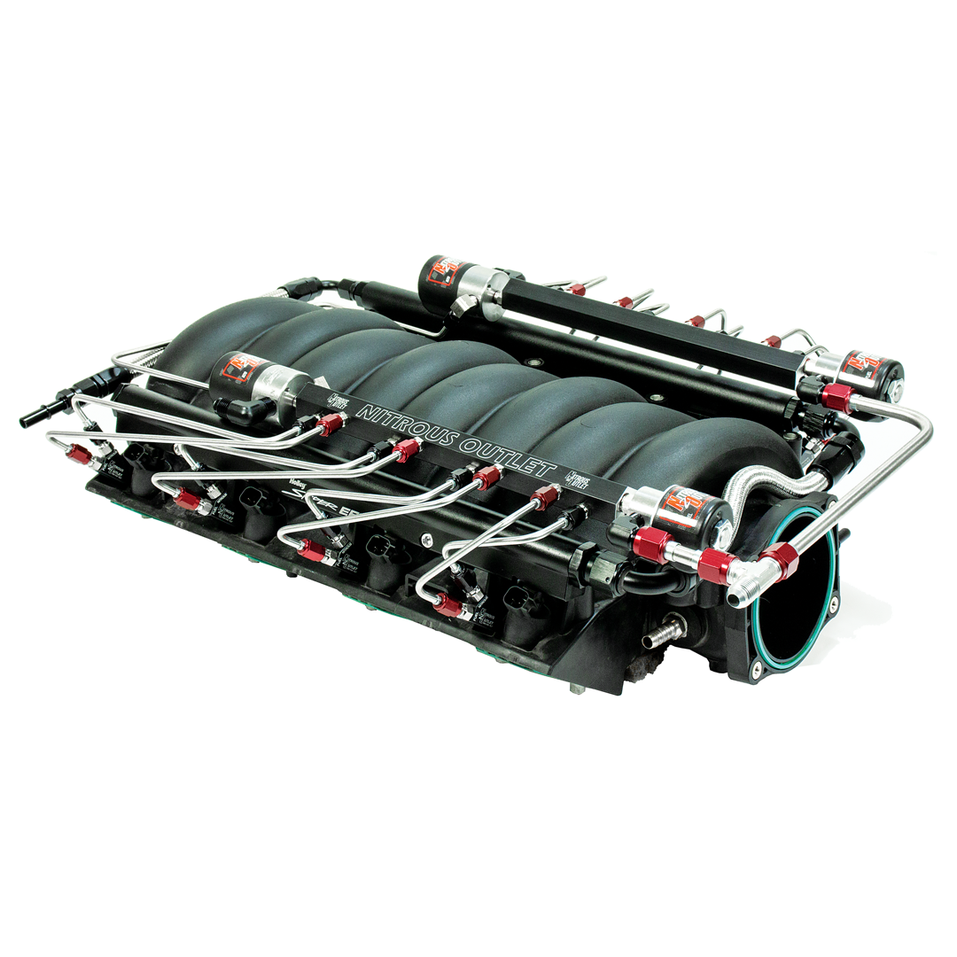 This LS3 intake received our Nitrous Outlet single stage