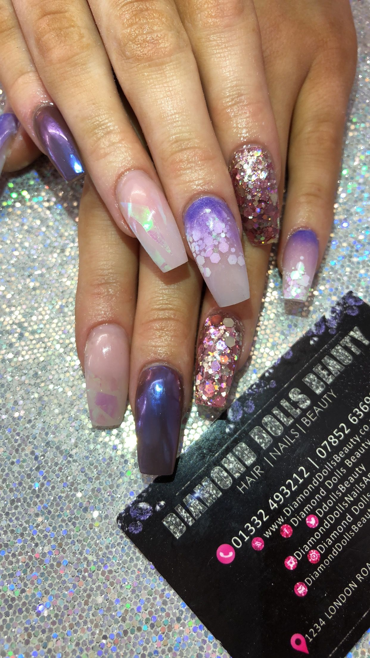 All acrylic nails by Dee at diamond dolls beauty, derby 💕 | Coffin ...