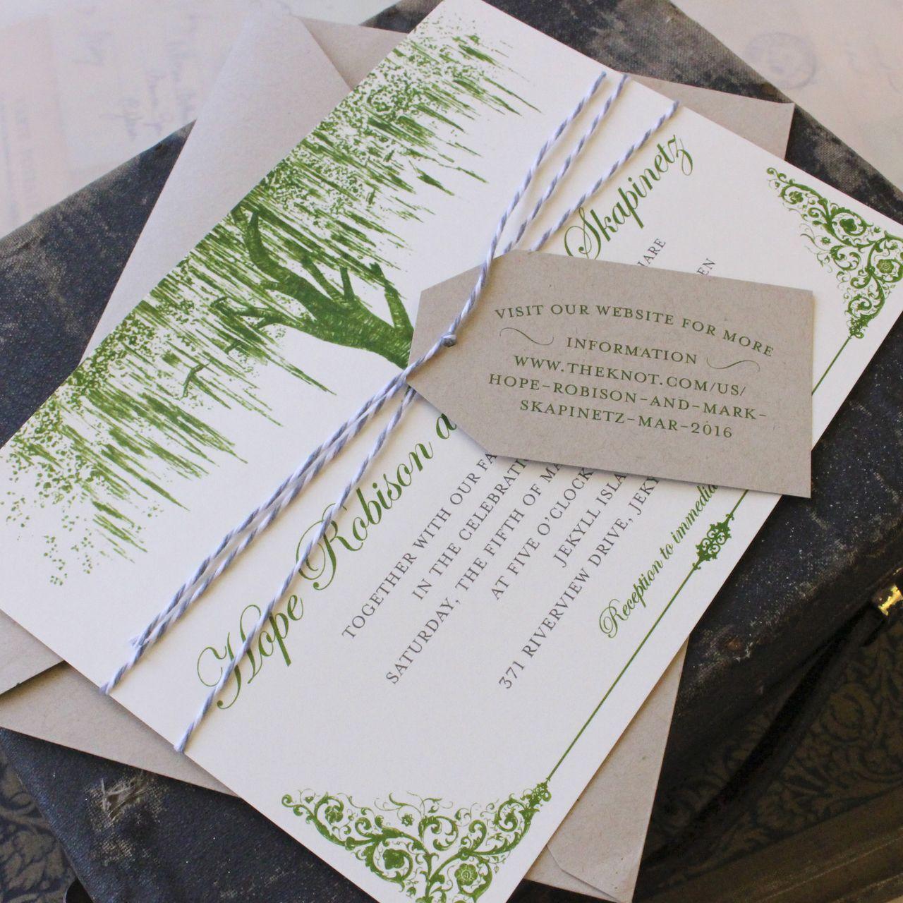Oak Tree Wedding Invitation (Vintage Green) | Bridal shower ideas ...