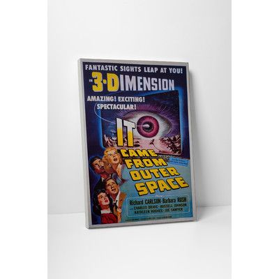 "PingoWorld Radio Days ""It Came from Outer Space 3D"" Vintage Advertisement on Wrapped Canvas Size: 30"" H x 20"" W"