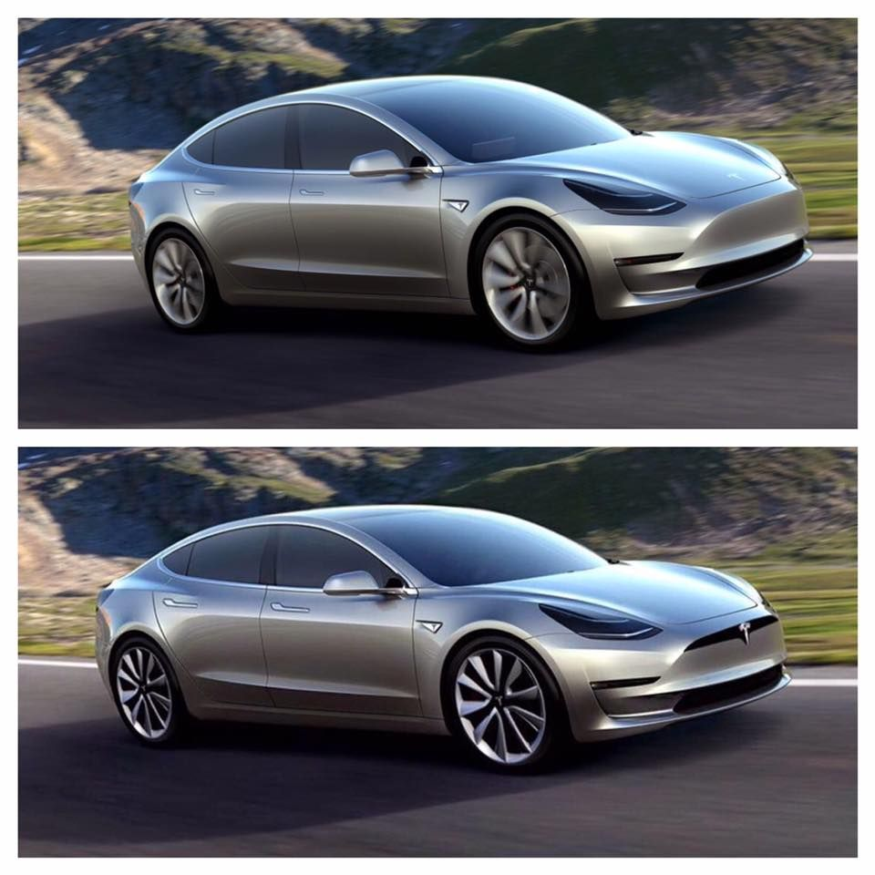 How Would The Tesla Model 3 Look With The Model S Front End And