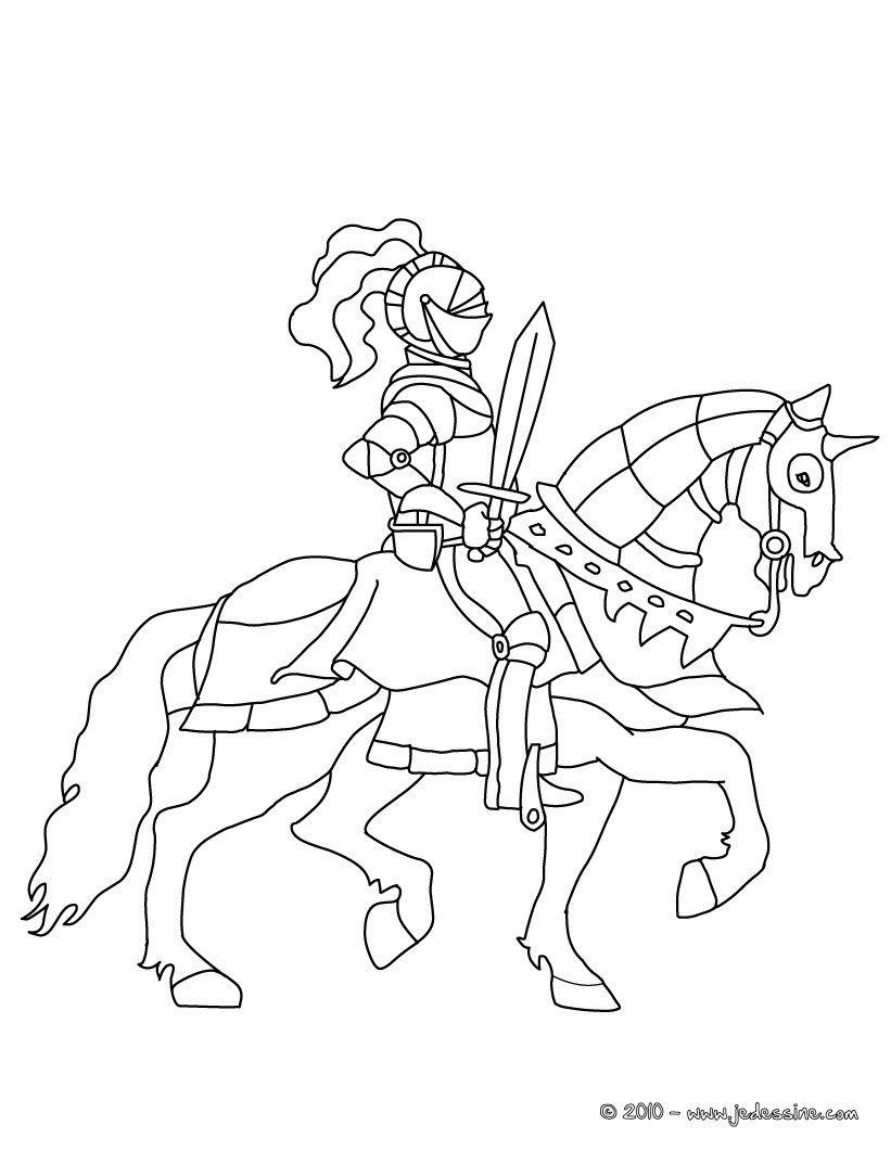 Coloriage Chevalier avec son épée sur son cheval