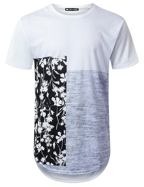 106a1d85424 Mens Hipster Hip Hop Floral Graphic Longline T-Shirt (Various Styles ...