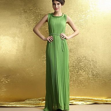 Pleated Hem Solid Color Waist Slim Maxi Dress