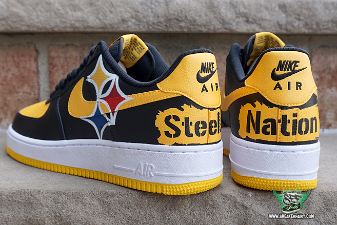 sneaker fairy fetti dbiasi custom sneakers steelers pittsburgh heinz field  black and yellow nike air force one jordan jordans antonio brown shoes nfl  ...