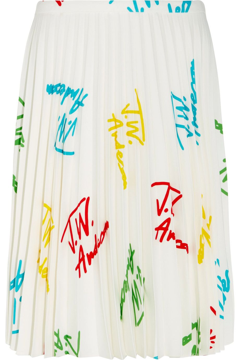J.W.ANDERSON Pleated printed stretch-crepe skirt. #j.w.anderson #cloth #skirt