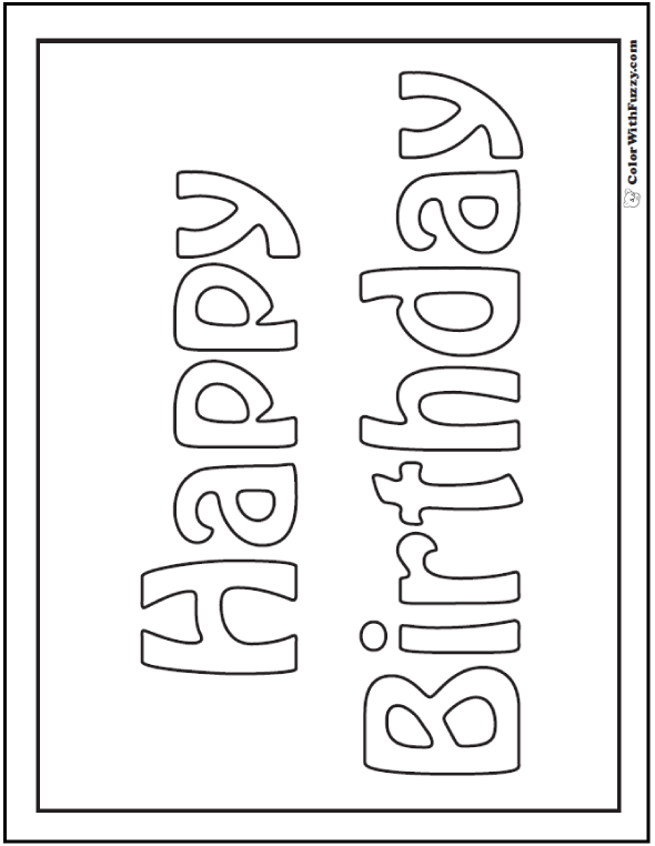 55+ Birthday Coloring Pages: Customizable PDF | Birthday | Pinterest ...