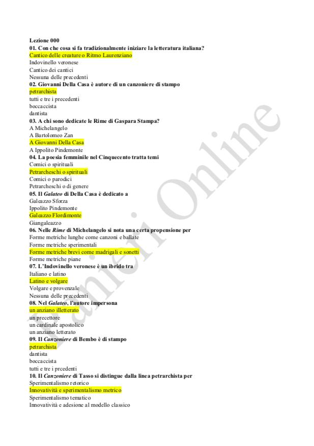 Paniere Letteratura Italiana Tonello E Ecampus Letteratura Canzoniere Italiani