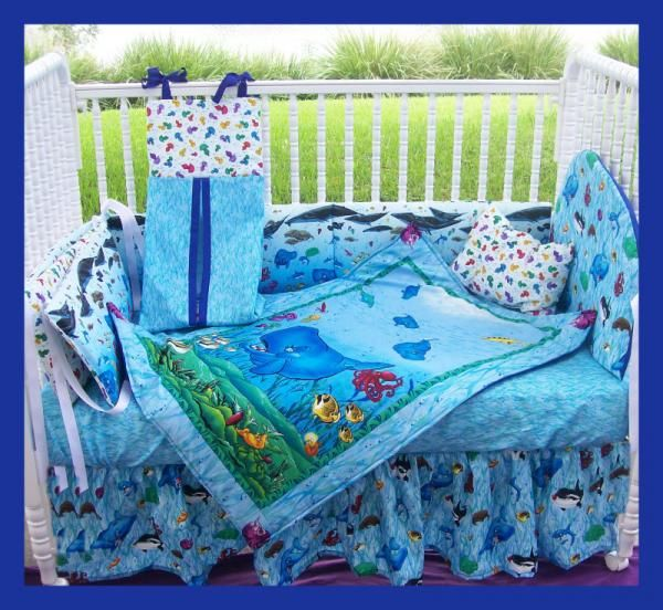 new custom spouty the whale crib bedding set ocean orca | bed sets