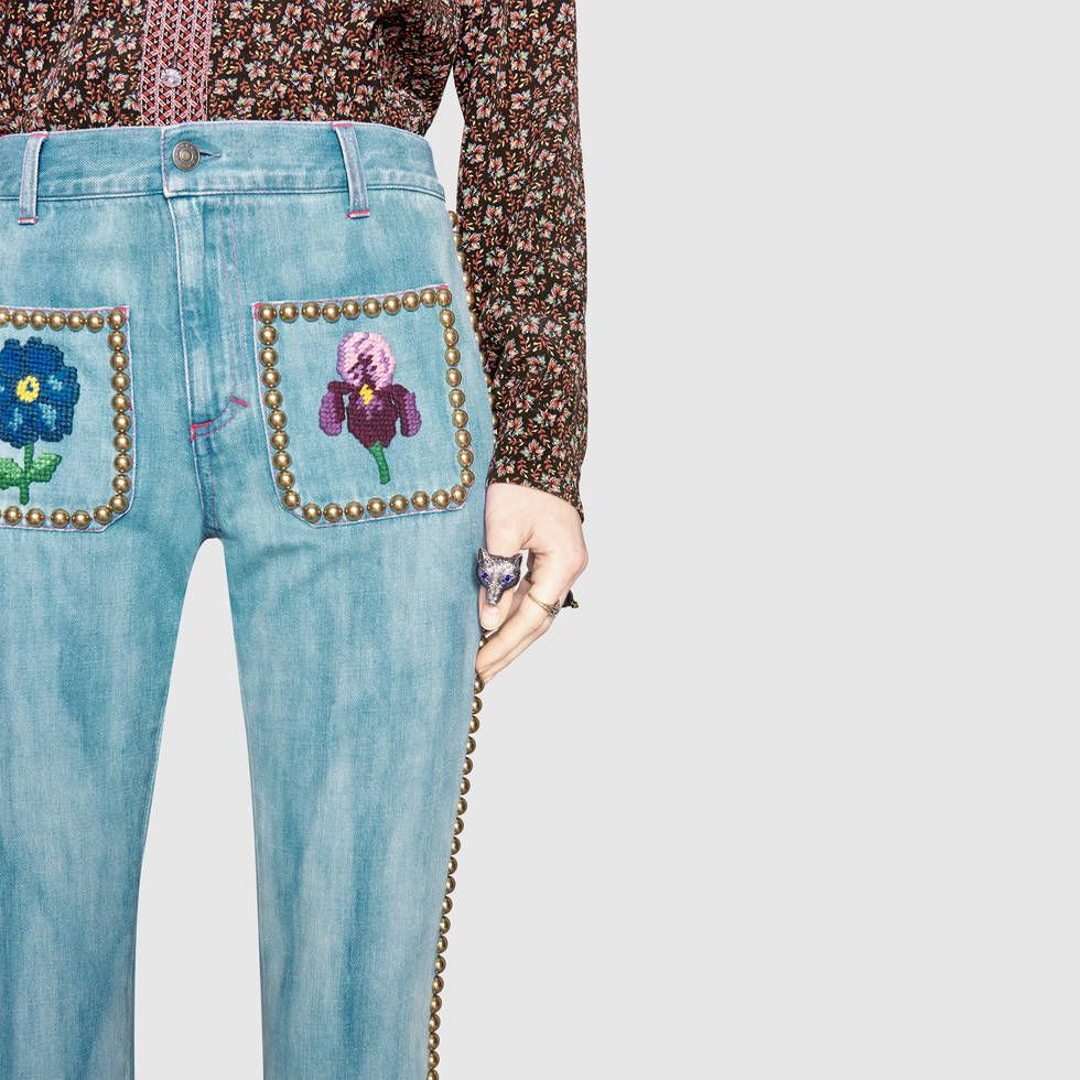 Gucci Embroidered denim pant with studs Detail 5