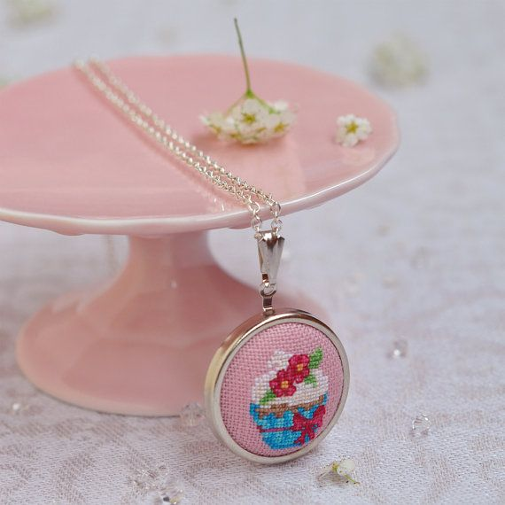 Embroidered Cupcake Pendant // Cupcake Party by LivingOnTheRainbow