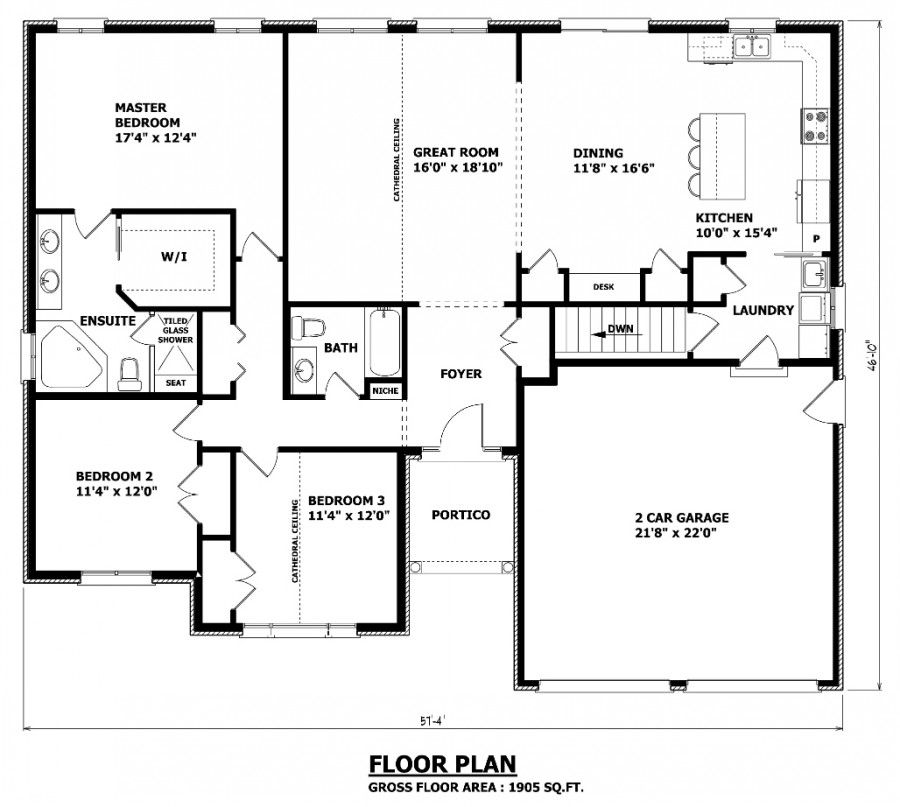 1905 sq ft the barrie house floor plan total kitchen area no formal dining room 11 39 8 x - Home plans with large kitchens ...