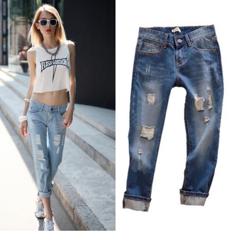Cool FashionHighElasticJeansWomanKneeSkinnyPencilPantsSlimRipped