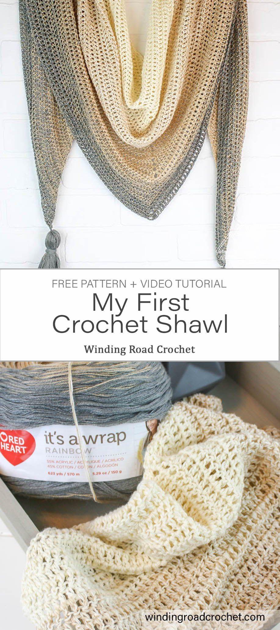 My First Triangle Shawl Free Crochet Pattern #crochetscarves