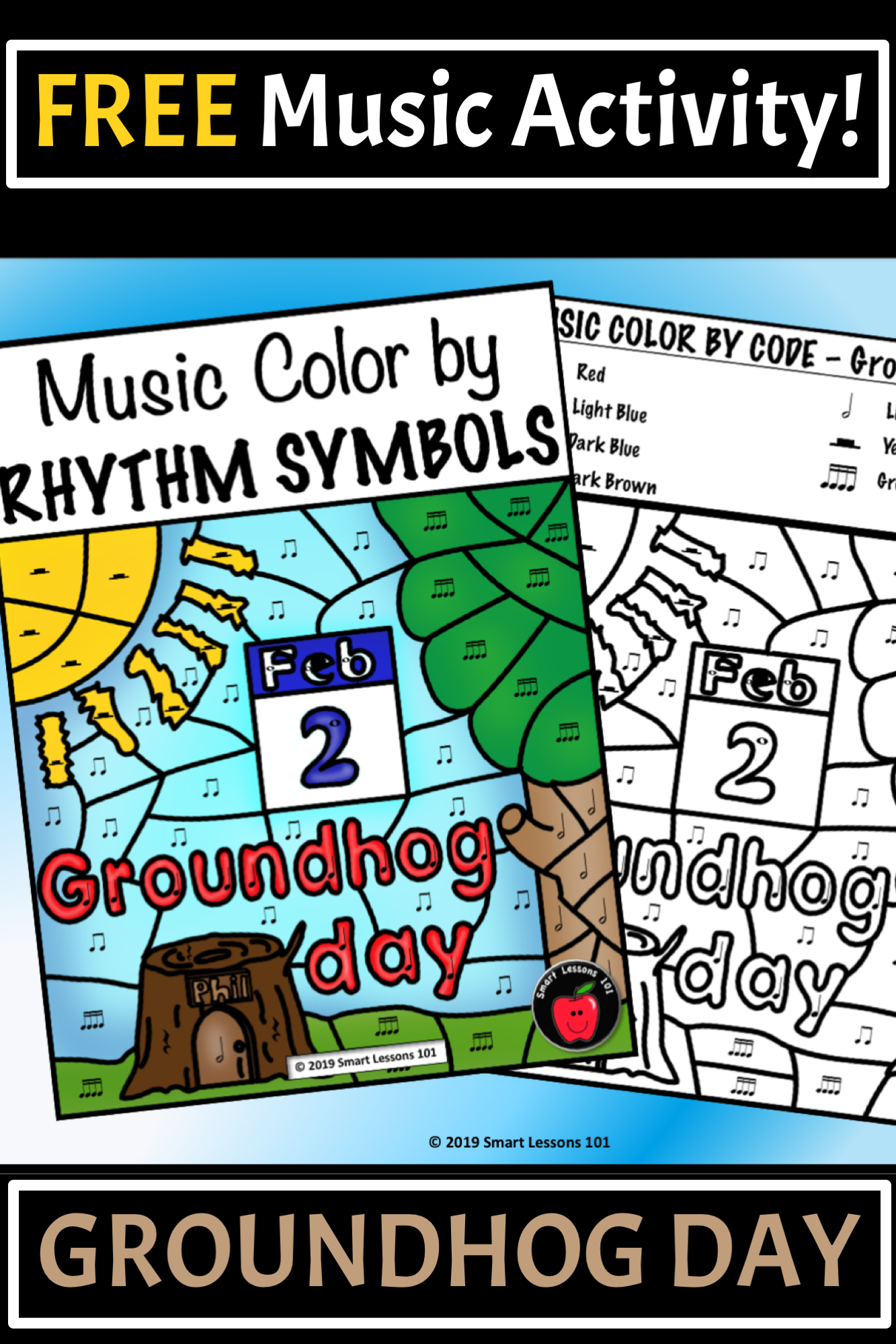 Free Groundhog Day Music Color By Rhythm Groundhog Day