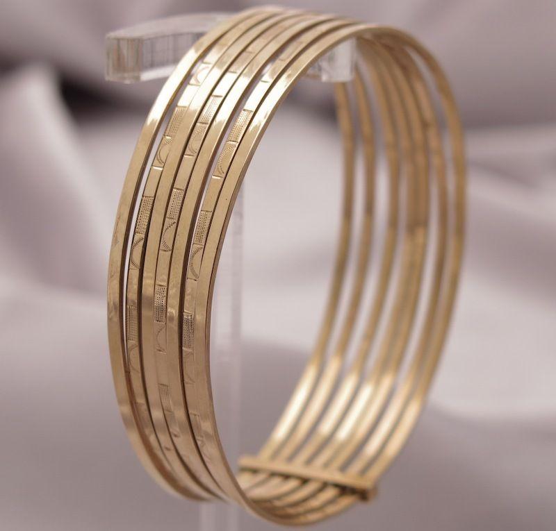French 18k Gold 7 Day Bangle Bracelet Semanarios