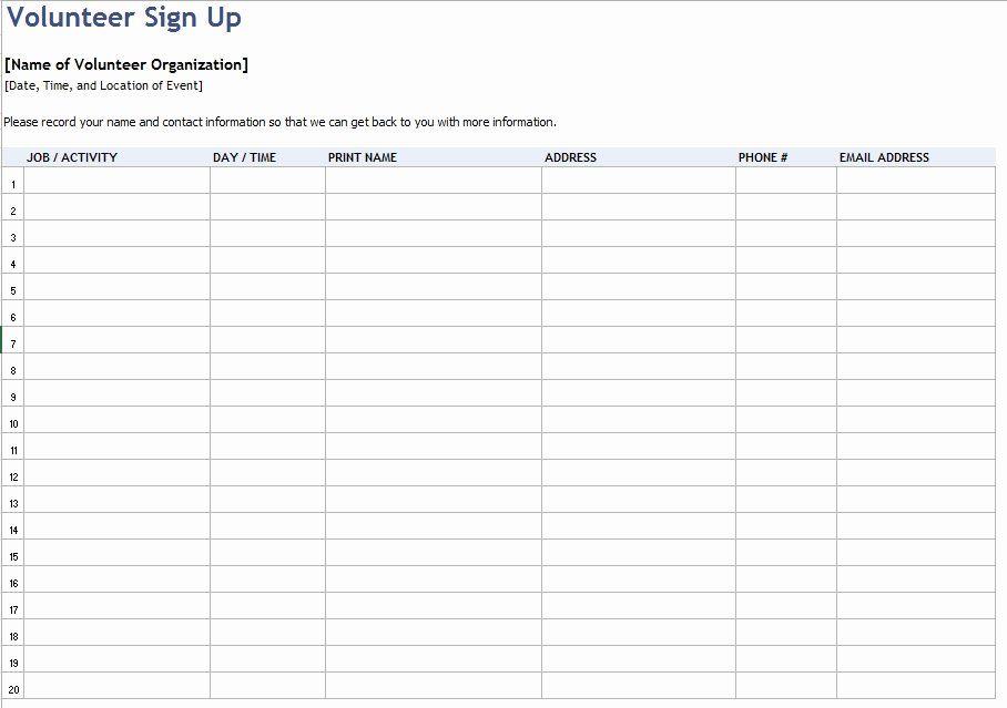 inspirational volunteer sign up form template  2020