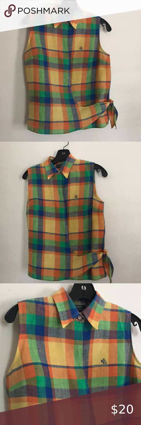 Spotted while shopping on Poshmark: Ralph Lauren Plaid Linen Wrap Top 4! #poshmark #fashion #shopping #style #Tops