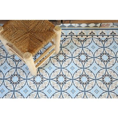 Tapis Vinyl - Barcelone Light Blue White - 60 X 97 Cm - Beija Flor
