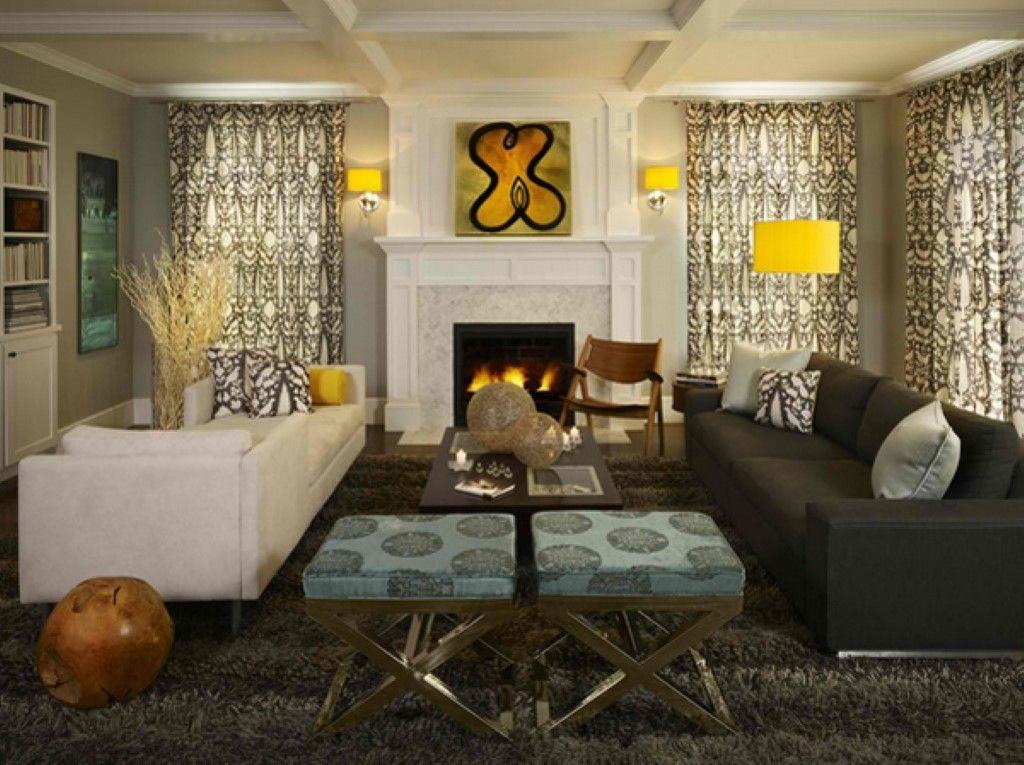 Greys with splashes of lemon yellow make this family room comfy and warm contemporary family room denver andrea schumacher interiors