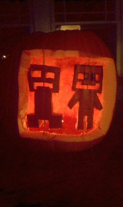 Minecraft Creeper And Steve Pumpkin