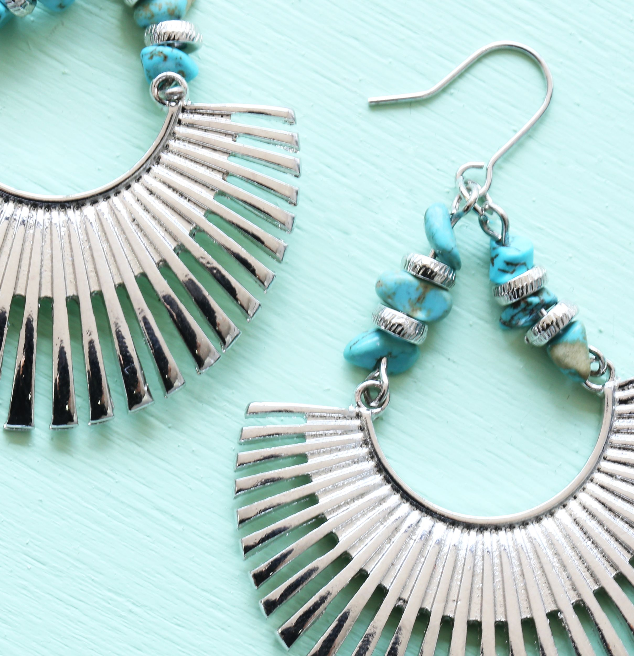 #Turquoise #Beads With Fan Shape #Silver Rhodium Plated #Dangle #Statement