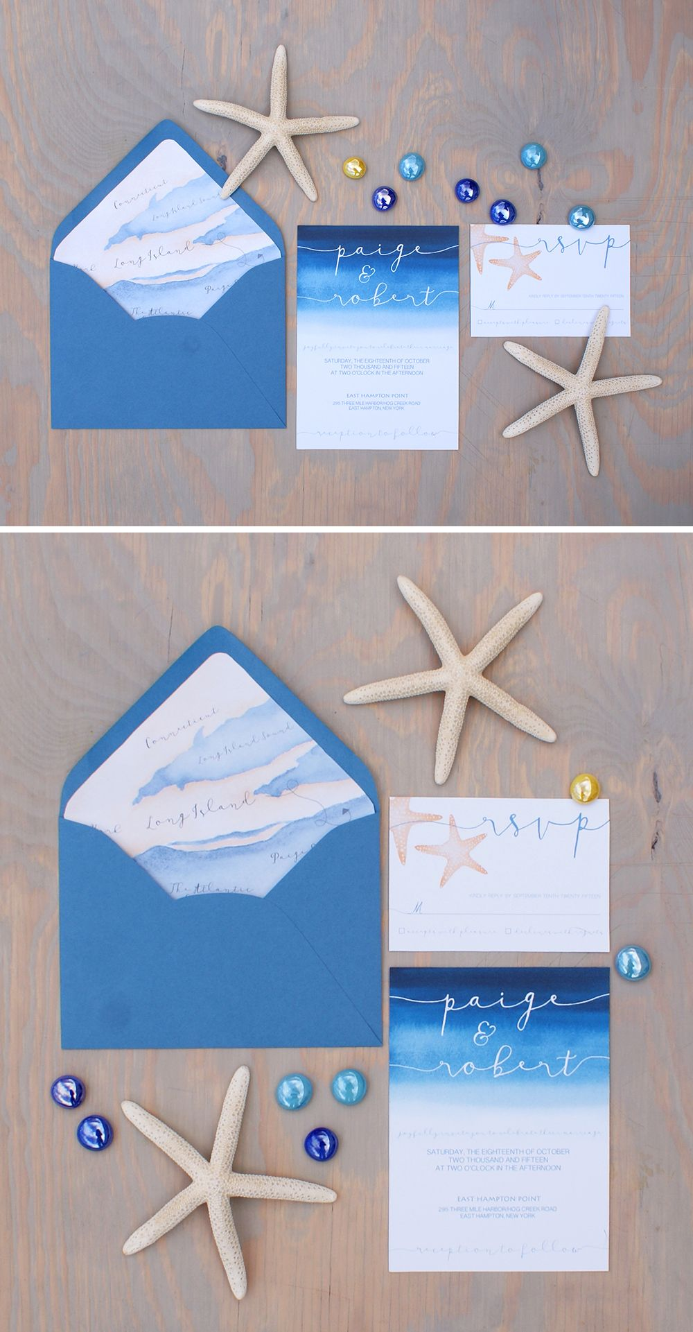 Ocean themed watercolor wedding invitation with a custom map envelope liner by Bohemian Mint  #oceaninvitation #seainvitation #beachinvitation