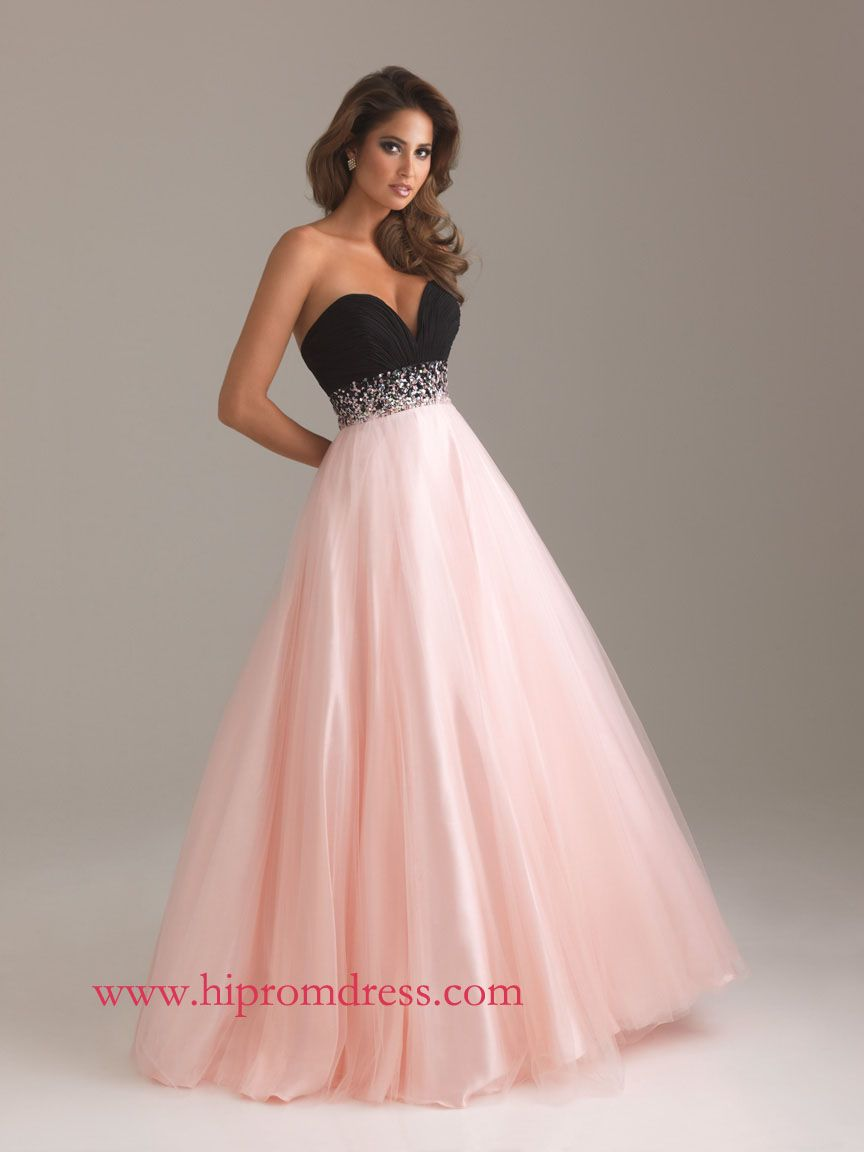 Pink and Black A-Line Sweetheart Floor Length Zipper Prom Dresses ...