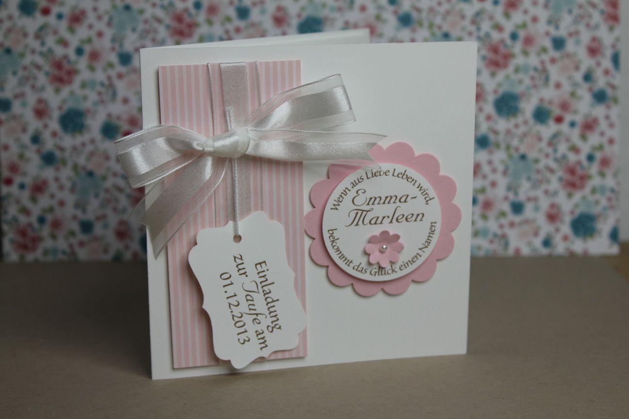 Taufkarte Rosa Stampin Up Zur Taufe Einladung Taufe
