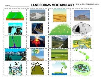 Landforms Cut  Paste Definitions Flash Cards  Words Centers