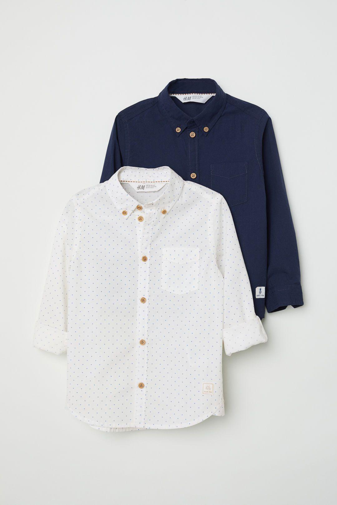 b0523e4c5b8 2-pack Cotton Shirts - Dark blue - Kids