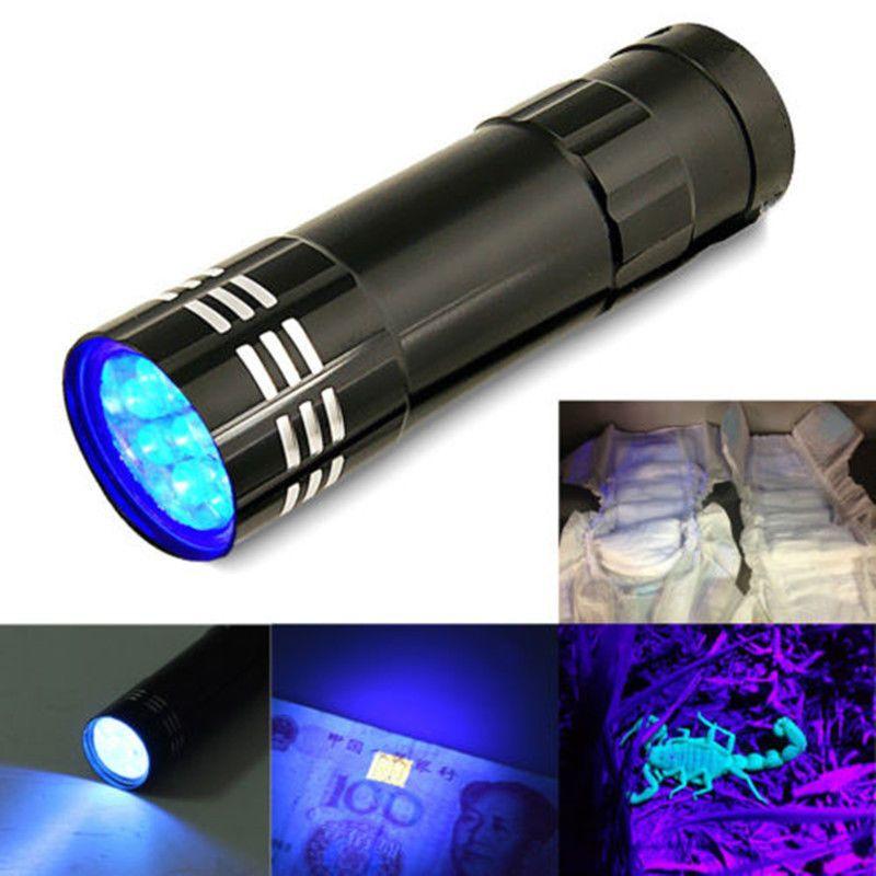 LED lamp Violet 9 LED Flashlight Blacklight Torch Light Lamp Black Portable