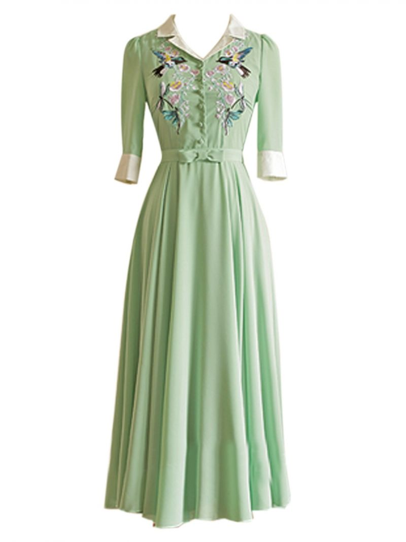 Green bird and floral embroidery shirt maxi dress floral